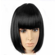 MOCOO Short Bob Cosplay Wigs Straight Synthetic Hair Wig Natural Looking Wigs for Women with Wig Cap JF062BK