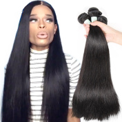YIROO Brazilian Virgin Human Hair 3 Bundles 6A Straight Hair Weft 95-100g/PC Silky Remy Hair Extensions Natural Black Colour