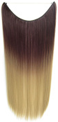 Flip In Synthetic Heat Resistance Dip Dye Straight Hair Extension Secret Miracle Two Tone Hair Wire 60cm No Clip 50g 1pc Brown & Blonde