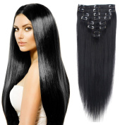 FIRSTLIKE 80g 60cm Jet Black 100% Clip In Remy Human Hair Extensions Unprocessed Full Head Smooth Soft Straight 8 Pieces With 18 Clips Attached Wefts For Women Beauty