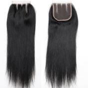 BLACKMOON HAIR 30cm 3 Way Part Lace Closure Straight 130% Density 10cm ×10cm Unprocessed Brazilian Virgin Remy Human Hair Lace Closure Three Part