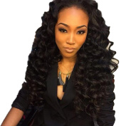 Royal-First Brazilian Virgin Hair Half Hand Tied Lace Front Wigs for Women Deep Wave 60cm Long #1b Natural Black Colour 130% Density