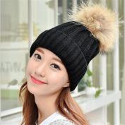 VISKEY Women Girls Faux Fur Pom Pom Winter Knit Beanie Bobble Ski Hat, Black
