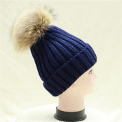 VISKEY Women Girls Faux Fur Pom Pom Winter Knit Beanie Bobble Ski Hat, Dark Blue