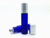 10ml (1/3 oz) Blue Glass Refillable Travel Perfume Bottles with Stainless Steel Roller Ball and Brushed Aluminium Cap, Using for Essential Oil and Perfume