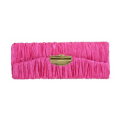 Pleated Satin Ladies Lipstick Case with Mirror Purse Holder - Hot Pink