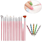 Willtoo hot sell 20PCS Nail Art Design Dotting Painting Drawing Polish Brush Pen Tools