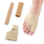 Sinsun Gel Toe Separators Set for Toe Spacers & Bunion Relief, 2 GelTubing , 2 Bunion Relief Sleeves- Pedicure Tools for Men & Women