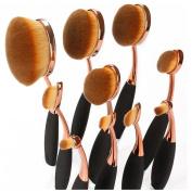 SuperB2C 10pcs Black Oval Makeup Brush Set Professional Foundation Contour Concealer Blending Cosmetic Brushes