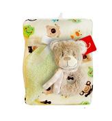 BlueberryShop Warm Fleece 2 Layers Blanket + Soft Rattle Toy Gift Set Newborn Baby Shower Present ( 0-3 Yrs ) ( 100 x 75 cm ) Green Teddy