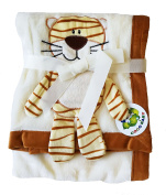 Plush Beige PV 3D Animal Baby Blanket, Tiger Design