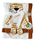 Plush Beige PV 3D Animal Baby Blanket, Tiger Design