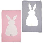 Jili Online 2pc Newborn Baby Infant Knit Crochet Blanket Pram Strollar Blankets Quilt