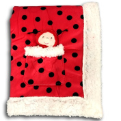 Metta Baby Blanket Ladybug Print Velour Sherpa Faux Sheep Fur Girls Red Plush Toy in Pocket 30 by 40