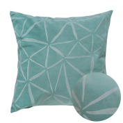 Deconovo Embossed Throw Pillowcase Indoor Print Geometry Triangle Pillow Cover Cushion Cover with Hidden Zipper for Bedroom 46cm x 46cm Bristol Blue