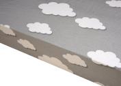 Premium Pack N Play Playard Sheet, 100% ORGANIC Cotton, Fits Perfectly Any Standard Playard Mattress up to 13cm , Clouds