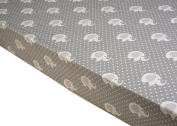 100% ORGANIC Cotton Fitted Pack N Play Playard Sheet, Fits Perfectly Any Standard Playard Mattress up to 13cm , Elephants
