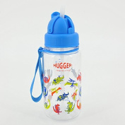 HUGGER Hydration Sports Water Bottle 11.8 oz / 350ml with Spill Free Top and Soft Drinking Straw for Baby Kids Children Student