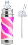 Pura Kiki Stainless Steel 330ml Toddler Sippy Bottle with Pink Swirl Silicone Plus 1 Extra Silicone Straw