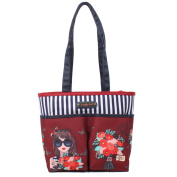 Spacious Red Multi-Functional Colourful Print Design Nappy Tote Bag with Changing Mat [Judith Loved Flower]