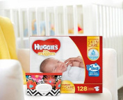Huggies Little Snugglers Plus Nappies New Born Skin Care Essentials Kit - 128ct Nappies & 32ct Natural Care Plus Baby Wipes