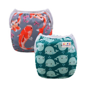 ALVABABY Swim Nappies 2pcs Pack One Size Reuseable & Adjustable 0-24 mo. 4.5-18kg Baby Shower Gifts SW18-25