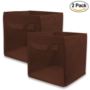 EasyView Storage Cube with Handle | 100% Woven Oxford Nylon Bin with Mesh See Thru Side | 10.5 x 27cm x 25cm , Foldable