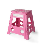 Acko 41cm Super Strong Folding Step Stool for Adults and Kids,Pink Kitchen Stepping Stools, Garden Step Stool, holds up to 180kg