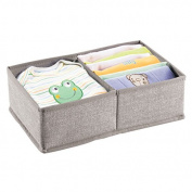 mDesign Fabric Nursery Drawer Organiser for Baby Clothes, Nappies, Wipes - 2 Compartments, Linen