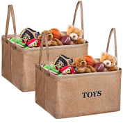 Toy Storage Bins, MaidMAX Flax Kids Collapsible Storage Basket Organisers for Toys, Clothing, Children Books, Gifts or Laundry, Brown, 2-Set