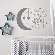 BATTOO I Love You To The Moon and Back- Moon and Stars Wall Sticker Baby Nursery Wall Decor - Kids Room Wall Decal Quotes - Baby Crib Wall Decor