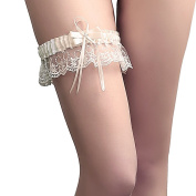 Rimobul Lace Wedding Garter with Satin Bow - Cream