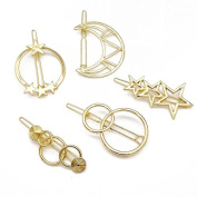 Sc0nni 5pcs Minimalist Dainty Moon Star Gold Geometric Hairpin Hair Clip Clamps Accessories Barrettes Bobby Pin