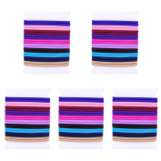 100 pcs Girls Elastic Hair ties in 10 Colours, 4mm Women Thick Hair Band Hair Rope