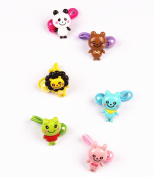6PCS Cute animals Hair Rope Elastic Hair Ties Holder Bands Ponytail Holders Set For Little Girls Toddlers