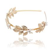 Laurel Leaf Headband Hair Crown - AWAYTR Gold Plated Vintage Headpiece Women Headband Wedding Bridal Hair Accessories