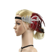 Meiliy Women's Vintage Crystal Headband Flapper Feather Headband 1920s Headpiece Hair Accessories, Wine red