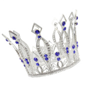 CamingHG Royal Wedding Tiara Bridal Pageant Beauty Contest Rhinestone Tiara Rose Silver Full Crown