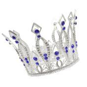CamingHG Royal Wedding Tiara Bridal Pageant Beauty Contest Rhinestone Tiara Rose Silver Full Crown