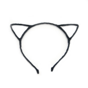 Angelakerry 10pcs Black Cat Ear Girl Metal Black Headband Simple Fashion DIY Wholesale
