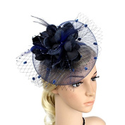 Meiliy Sinamay Fascinator Hat with Headband Mesh Feather Silk Flower Hair Clip For Wedding Performance and Party, Navy