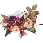 Shineweb Flower Wreath Headband Crown Floral Garland Boho for Festival Wedding