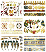 Premium Watercolour & Metallic Tattoos - 75+ Jewellery Inspired Colourful Shimmer Designs in Pink, Turquoise, Gold, Green