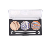Bingirl 3 Colours Women 3D Diamond Glitter Baked Eyeshadow Palette Shimmer Beauty Makeup Cosmetic Contouring Set for Salon and Daily Use