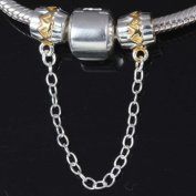 Clasp Safety Chain Charm 925 Sterling Silver Clip Stopper Charm Spacer Charm for Pandora Charm Bracelet