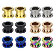 M-Aimee 6 Pairs Stainless Steel Screwed Ear Gauges Flesh Tunnels Plugs Expander Stretcher Body Piercing