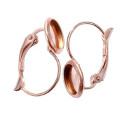 2PCS Rose Gold Stainless Steel French Lever Back Earrings Base with 8mm Blank Pad Jewellery Findings