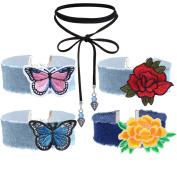 Tpocean 5 PCS Blue Denim Jeans Embroidery Chokers Black Velvet Long Elastic Lace-up Necklaces for Women Girls Teen