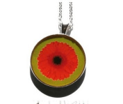 Flower necklace, Flower pendant, Gerbera Flower, Gerbera Pendant, Green Jewellery, Picture Photo Jewellery, Orange Flower, Butter cop