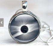 Solar Eclipse Art Glass Pendant Necklace Glass Dome, Space Picture Pendant with with Silver Chain Picture Necklace Photo Pendant